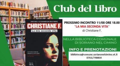 """Biblioteca Comunale: Club del Libro """"La mia seconda Vita"""" di Christiane F."""